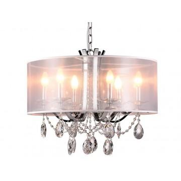 Подвесная люстра Newport 33006/C (М0049501), 6xE14x60W, хром, белый, прозрачный, металл со стеклом, текстиль, стекло