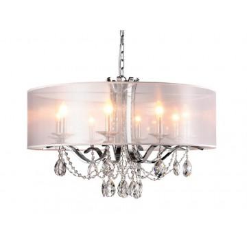Подвесная люстра Newport 33008/C (М0049502), 8xE14x60W, хром, белый, прозрачный, металл со стеклом, текстиль, стекло