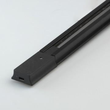 Шинопровод в сборе с питанием и заглушкой De Markt TR 2*1M BL, черный, металл