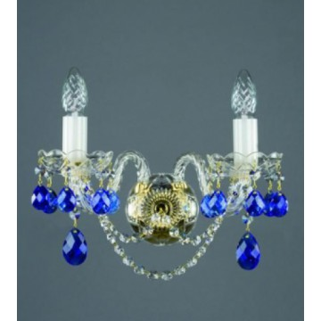 Бра Artglass MIRKA II. FULL CUT BLUE, 2xE14x40W, стекло