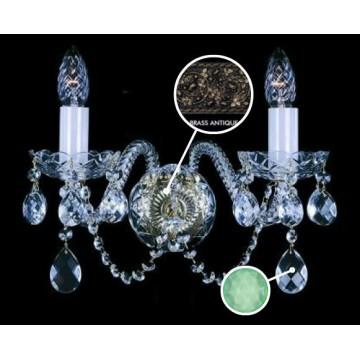 Бра Artglass MIRKA II. FULL CUT BRASS ANTIQUE CE - 5005, 2xE14x40W, стекло, хрусталь Artglass Crystal Exclusive