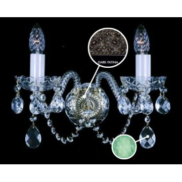 Бра Artglass MIRKA II. FULL CUT DARK PATINA CE - 5005, 2xE14x40W, стекло, хрусталь Artglass Crystal Exclusive