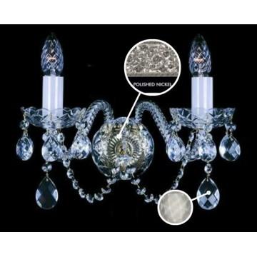 Бра Artglass MIRKA II. FULL CUT NICKEL CE - 8006, 2xE14x40W, стекло, хрусталь Artglass Crystal Exclusive