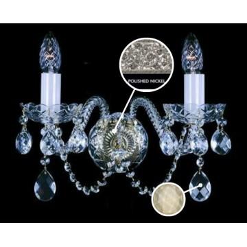 Бра Artglass MIRKA II. FULL CUT NICKEL CE - 8007, 2xE14x40W, стекло, хрусталь Artglass Crystal Exclusive