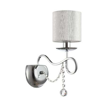 Бра Freya Morel FR2907-WL-01-CH (FR907-01-N), 1xE14x40W, хром, серебро, прозрачный, металл, текстиль, хрусталь