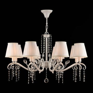 Подвесная люстра Freya Liviano FR2613-PL-08-W (FR613-08-WG), 8xE14x40W, белый с золотой патиной, белый, прозрачный, металл, текстиль, хрусталь - миниатюра 3