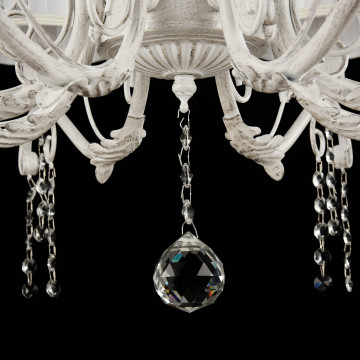 Подвесная люстра Freya Liviano FR2613-PL-08-W (FR613-08-WG), 8xE14x40W, белый с золотой патиной, белый, прозрачный, металл, текстиль, хрусталь - миниатюра 4