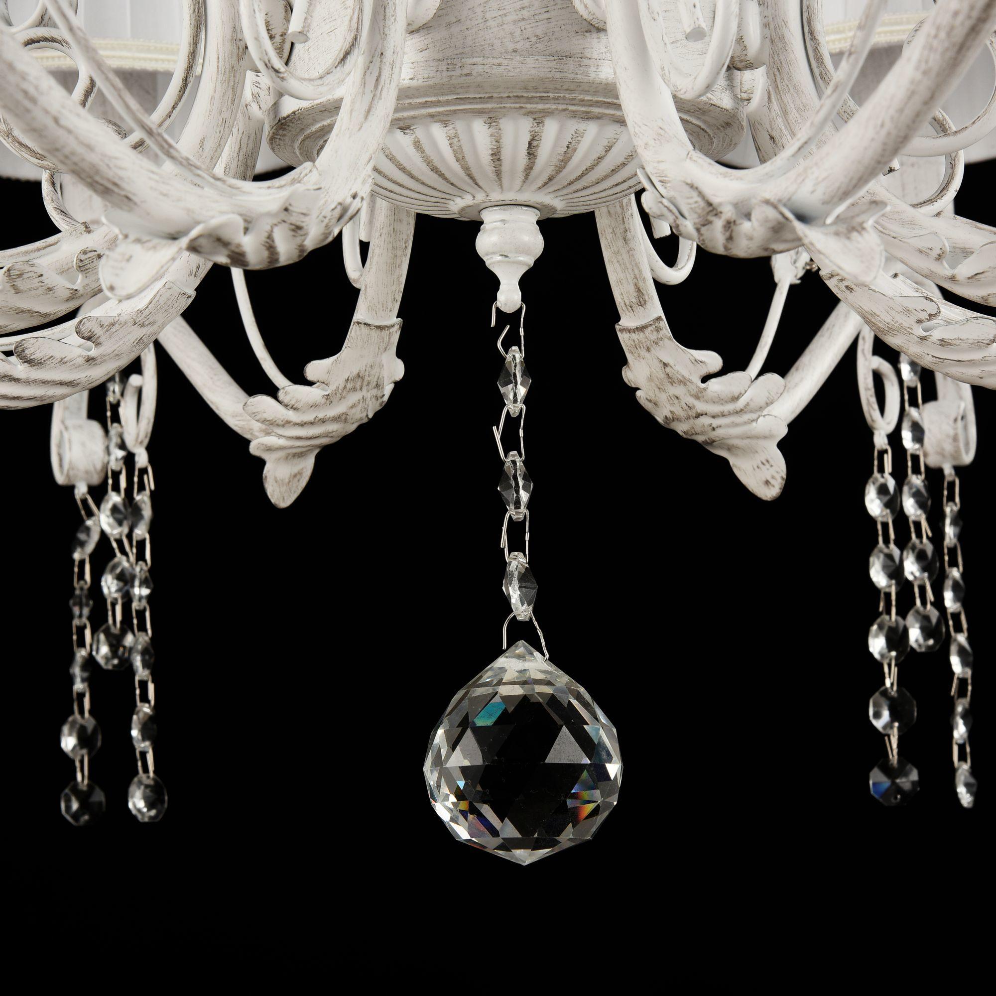 Подвесная люстра Freya Liviano FR2613-PL-08-W (FR613-08-WG), 8xE14x40W, белый с золотой патиной, белый, прозрачный, металл, текстиль, хрусталь - фото 4