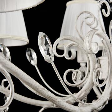 Подвесная люстра Freya Liviano FR2613-PL-08-W (FR613-08-WG), 8xE14x40W, белый с золотой патиной, белый, прозрачный, металл, текстиль, хрусталь - миниатюра 5