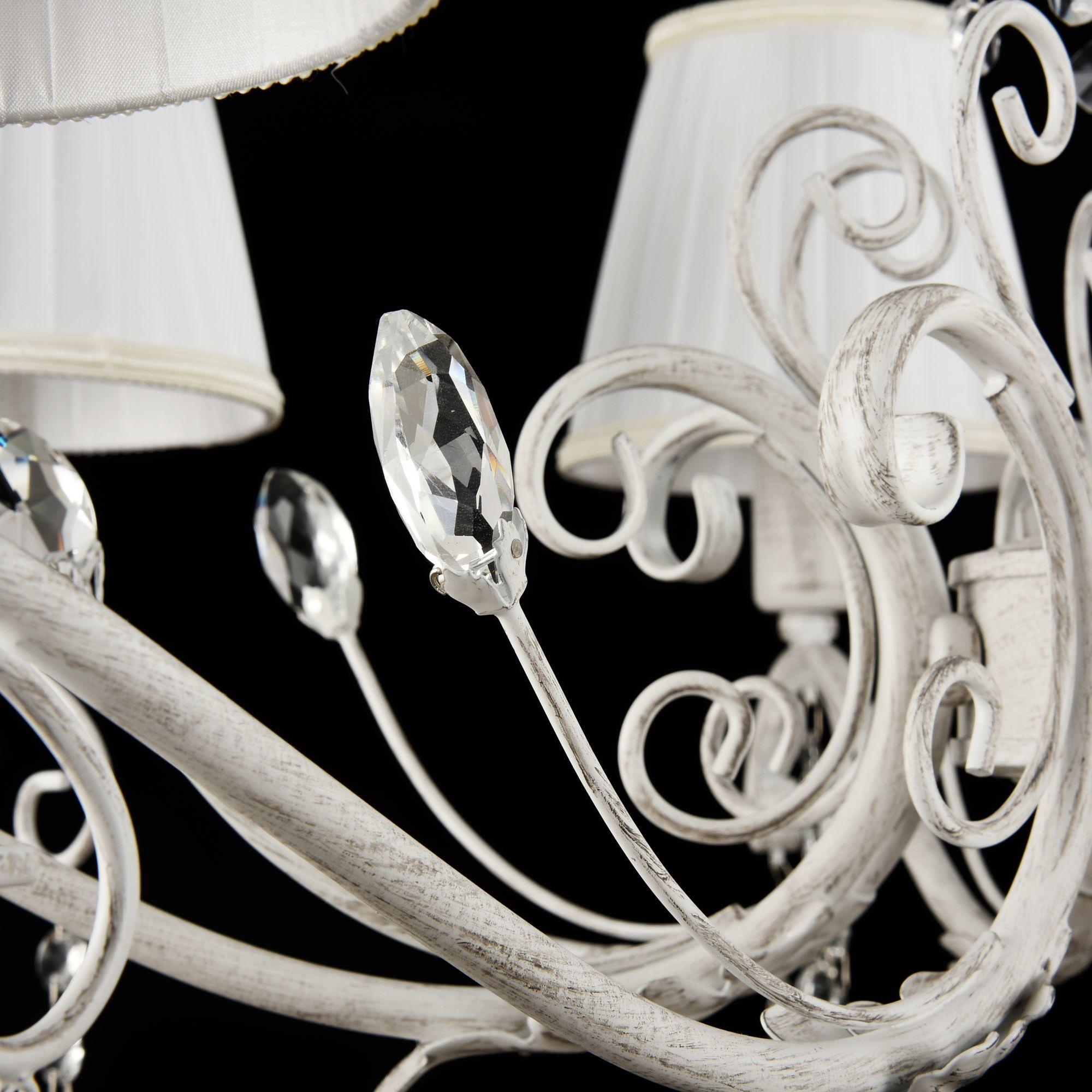 Подвесная люстра Freya Liviano FR2613-PL-08-W (FR613-08-WG), 8xE14x40W, белый с золотой патиной, белый, прозрачный, металл, текстиль, хрусталь - фото 5