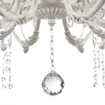 Подвесная люстра Freya Liviano FR2613-PL-08-W (FR613-08-WG), 8xE14x40W, белый с золотой патиной, белый, прозрачный, металл, текстиль, хрусталь - миниатюра 6