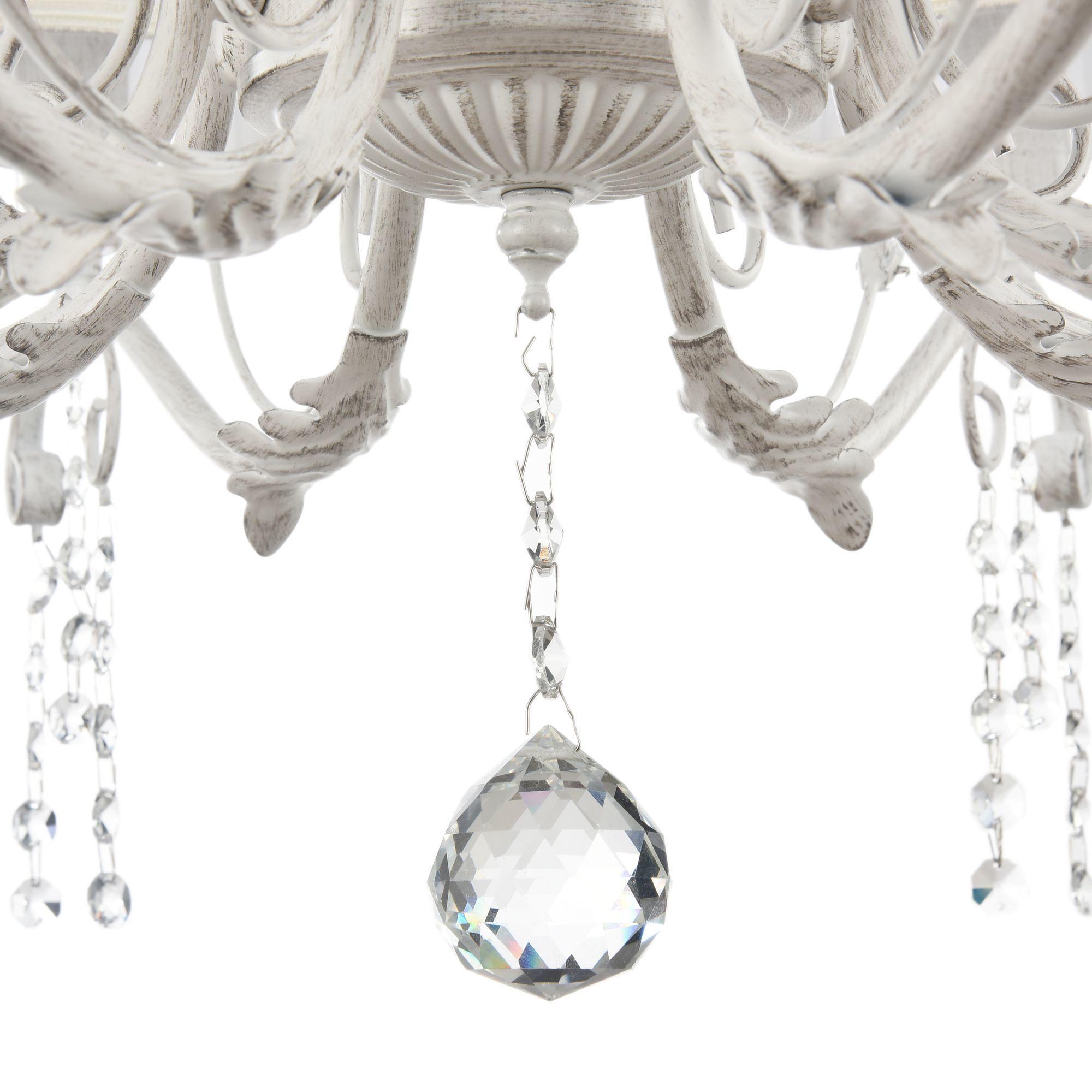Подвесная люстра Freya Liviano FR2613-PL-08-W (FR613-08-WG), 8xE14x40W, белый с золотой патиной, белый, прозрачный, металл, текстиль, хрусталь - фото 6