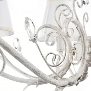 Подвесная люстра Freya Liviano FR2613-PL-08-W (FR613-08-WG), 8xE14x40W, белый с золотой патиной, белый, прозрачный, металл, текстиль, хрусталь - миниатюра 7