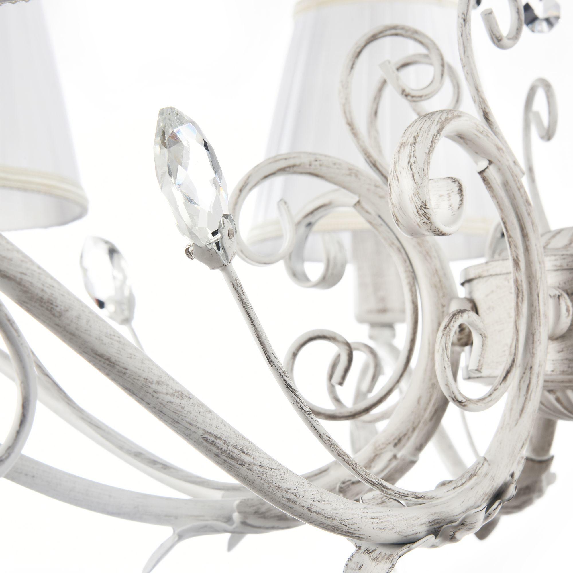 Подвесная люстра Freya Liviano FR2613-PL-08-W (FR613-08-WG), 8xE14x40W, белый с золотой патиной, белый, прозрачный, металл, текстиль, хрусталь - фото 7
