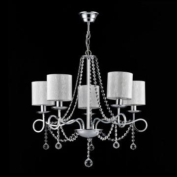 Подвесная люстра Freya Morel FR2907-PL-05-CH (FR907-05-N), 5xE14x40W, хром, серебро, прозрачный, металл, текстиль, хрусталь - миниатюра 2