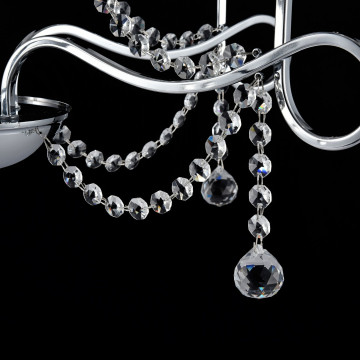 Подвесная люстра Freya Morel FR2907-PL-05-CH (FR907-05-N), 5xE14x40W, хром, серебро, прозрачный, металл, текстиль, хрусталь - миниатюра 4