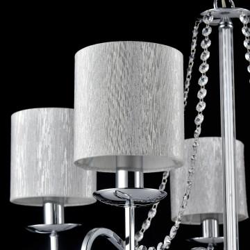 Подвесная люстра Freya Morel FR2907-PL-05-CH (FR907-05-N), 5xE14x40W, хром, серебро, прозрачный, металл, текстиль, хрусталь - миниатюра 5