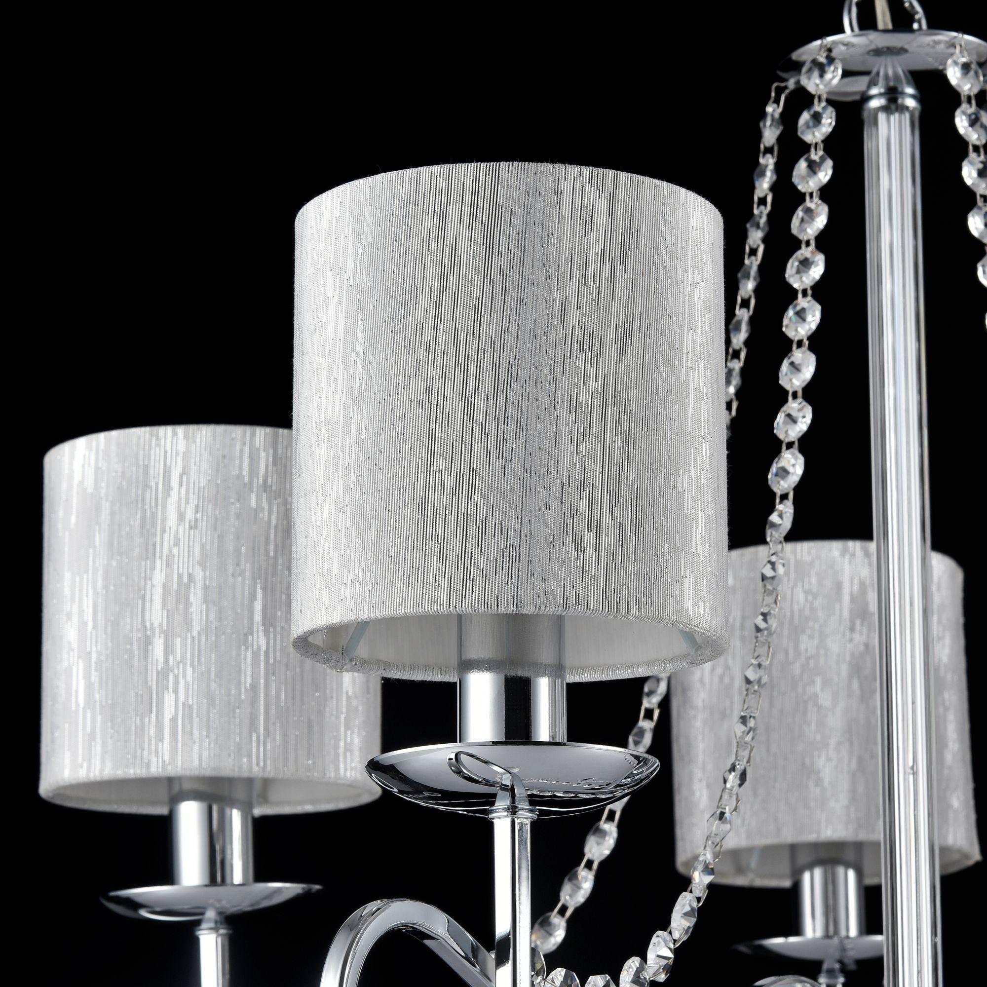 Подвесная люстра Freya Morel FR2907-PL-05-CH (FR907-05-N), 5xE14x40W, хром, серебро, прозрачный, металл, текстиль, хрусталь - фото 5