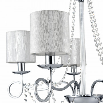 Подвесная люстра Freya Morel FR2907-PL-05-CH (FR907-05-N), 5xE14x40W, хром, серебро, прозрачный, металл, текстиль, хрусталь - миниатюра 6