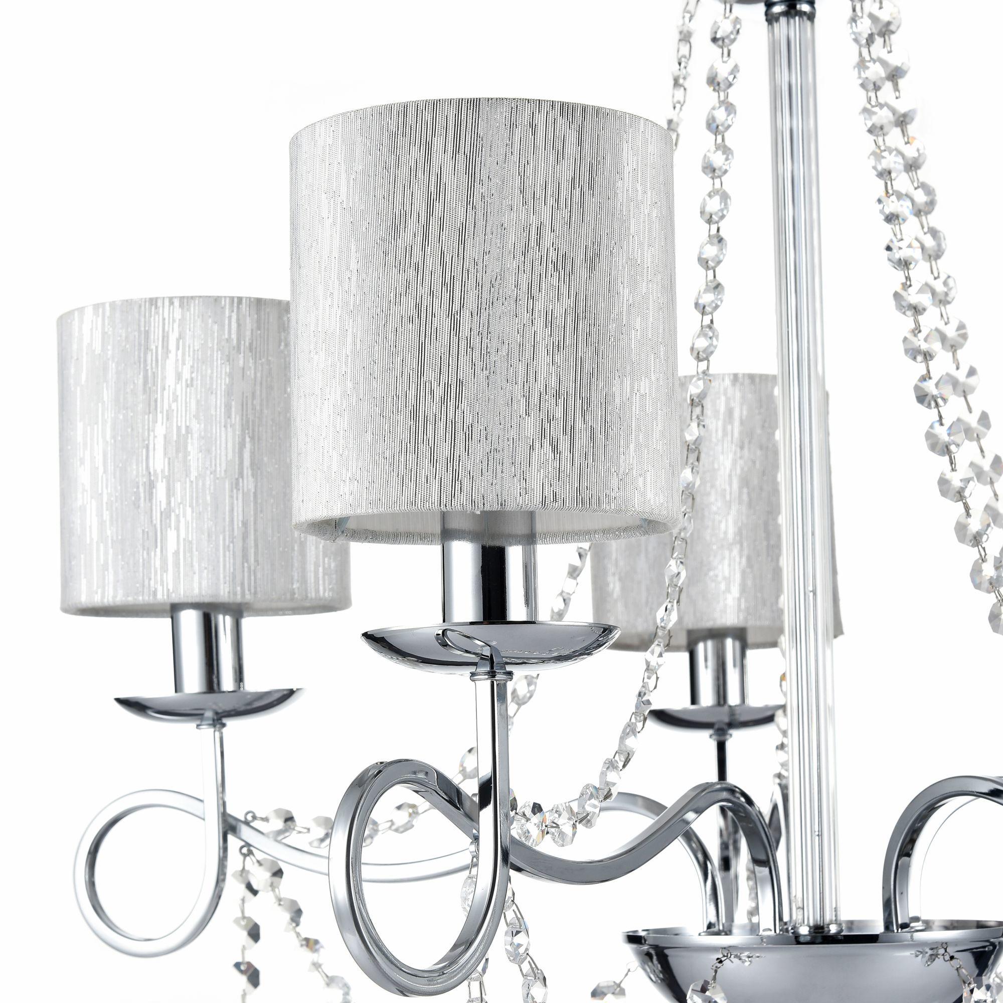 Подвесная люстра Freya Morel FR2907-PL-05-CH (FR907-05-N), 5xE14x40W, хром, серебро, прозрачный, металл, текстиль, хрусталь - фото 6