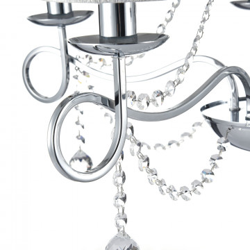 Подвесная люстра Freya Morel FR2907-PL-05-CH (FR907-05-N), 5xE14x40W, хром, серебро, прозрачный, металл, текстиль, хрусталь - миниатюра 7