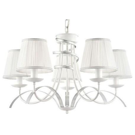 Подвесная люстра Freya Diana FR5569-PL-05-W, белый, серебро, металл, текстиль