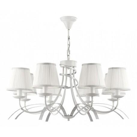Подвесная люстра Freya Diana FR5569-PL-08-W (fr569-08-w), 8xE14x40W, белый, серебро, металл, текстиль