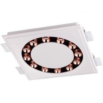 Встраиваемый светодиодный светильник Novotech Caro 357933, 3000K (теплый), белый, медь, под покраску, гипс, металл