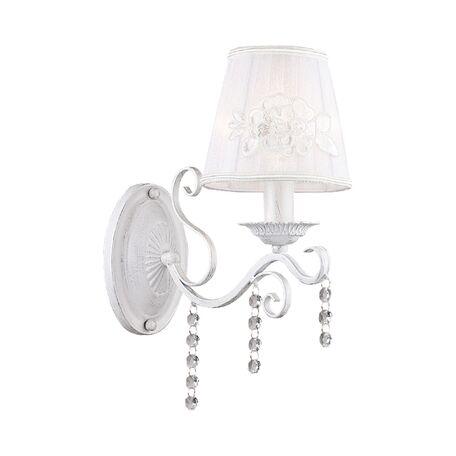 Бра Favourite Melissa 1732-1W, 1xE14x40W, белый с серебряной патиной, белый, прозрачный, металл, текстиль, хрусталь
