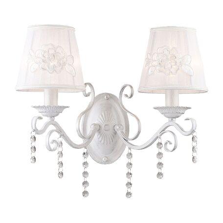 Бра Favourite Melissa 1732-2W, 2xE14x40W, белый с серебряной патиной, белый, прозрачный, металл, текстиль, хрусталь