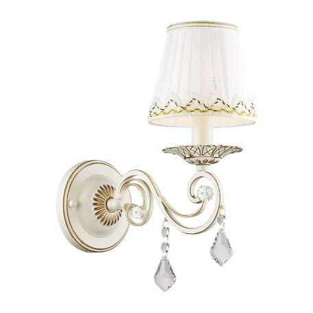Бра Favourite Musa 1734-1W, 1xE14x40W, бежевый с золотой патиной, белый, прозрачный, металл, текстиль, хрусталь