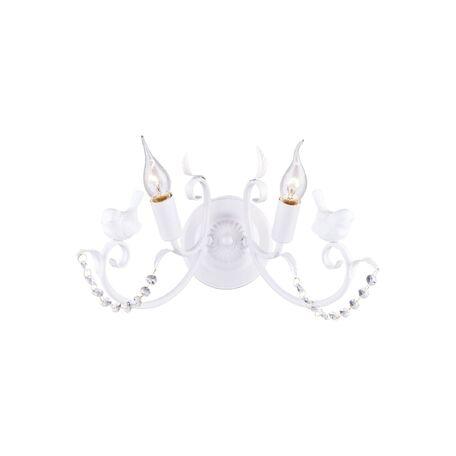 Бра Favourite Cardellino 1836-2W, 2xE14x40W, белый, прозрачный, гипс, металл, хрусталь