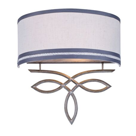 Бра Favourite Nika 1937-2W, 2xE14x40W, серебро, серый, металл, текстиль