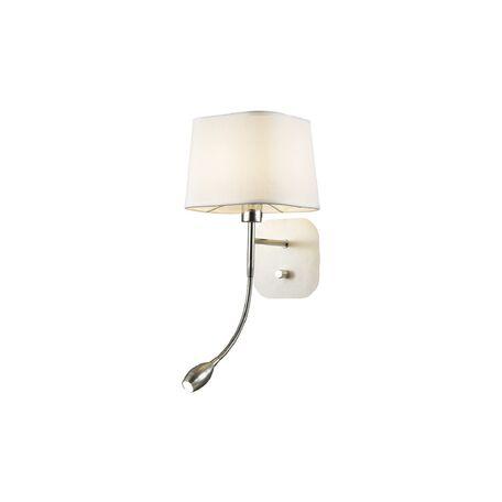 Бра с дополнительной подсветкой Favourite Baumwolle 1687-2W, 1xE14x40W + LED 1W, хром, белый, металл, текстиль