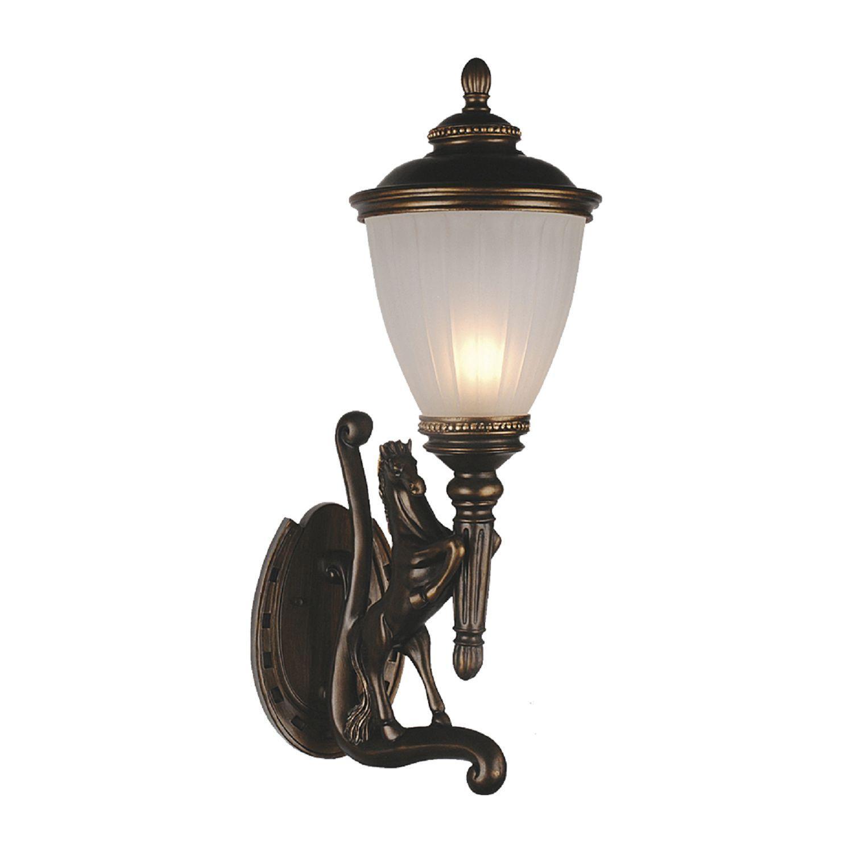 Настенный фонарь Favourite Guards 1334-1W, IP44, 1xE27x60W, коричневый, гипс, металл, ковка, металл со стеклом - фото 1