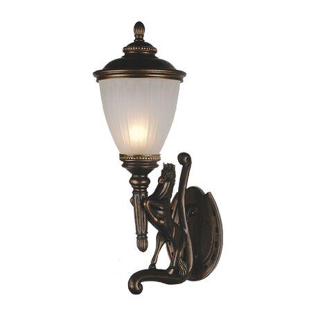 Настенный фонарь Favourite Guards 1334-1WL, IP44, 1xE27x60W, коричневый, гипс, металл, ковка, металл со стеклом