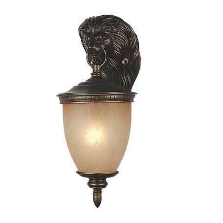Настенный фонарь Favourite Guards 1336-1W, IP44, 1xE27x60W, коричневый, янтарь, гипс, металл, ковка, металл со стеклом