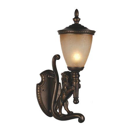 Настенный фонарь Favourite Guards 1337-1W, IP44, 1xE27x60W, коричневый, янтарь, гипс, металл, ковка, металл со стеклом
