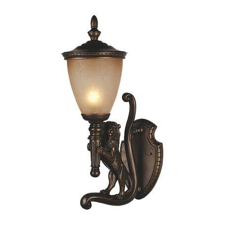 Настенный фонарь Favourite Guards 1337-1WL, IP44, 1xE27x60W, коричневый, янтарь, гипс, металл, ковка, металл со стеклом