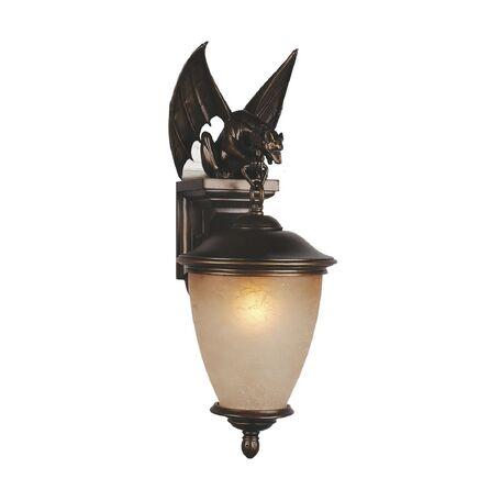 Настенный фонарь Favourite Guards 1338-1W, IP44, 1xE27x60W, коричневый, янтарь, гипс, металл, ковка, металл со стеклом
