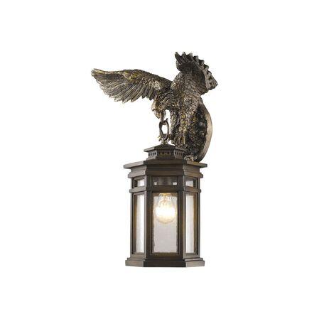Настенный фонарь Favourite Guards 1458-1W, IP44, 1xE27x60W, коричневый, прозрачный, гипс, металл, ковка, металл со стеклом