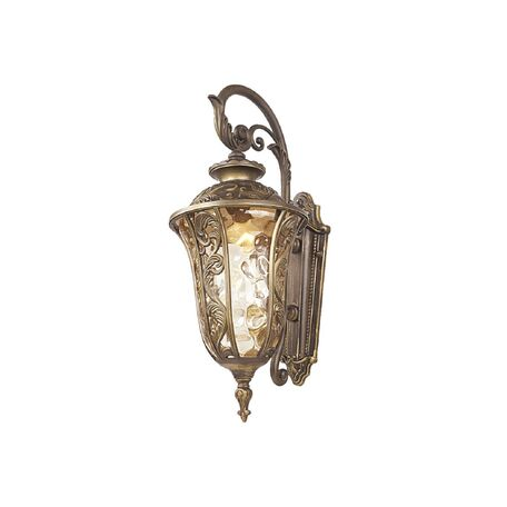 Настенный фонарь Favourite Luxus 1495-1W, IP44, 1xE27x60W, коричневый, янтарь, металл, ковка, металл со стеклом