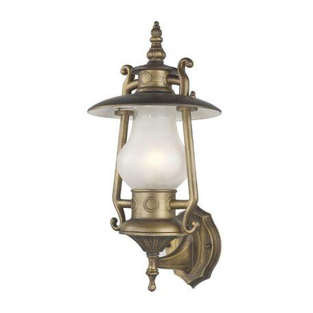 Настенный фонарь Favourite Leyro 1496-1W, IP44, 1xE27x60W, коричневый, белый, металл, стекло