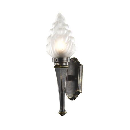 Настенный фонарь Favourite Fackel 1803-1W, IP44, 1xE27x60W, черный с золотой патиной, белый, металл, ковка, стекло