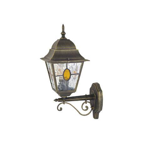 Настенный фонарь Favourite Zagreb 1804-1W, IP44, 1xE27x100W, черный с золотой патиной, янтарь, металл, ковка, металл со стеклом