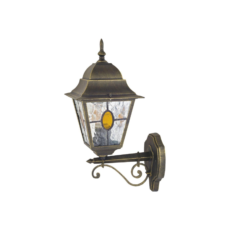 Настенный фонарь Favourite Zagreb 1804-1W, IP44, 1xE27x100W, черный с золотой патиной, прозрачный, янтарь, металл, стекло - фото 1