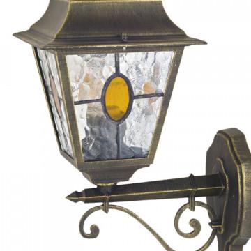 Настенный фонарь Favourite Zagreb 1804-1W, IP44, 1xE27x100W, черный с золотой патиной, прозрачный, янтарь, металл, стекло - миниатюра 2