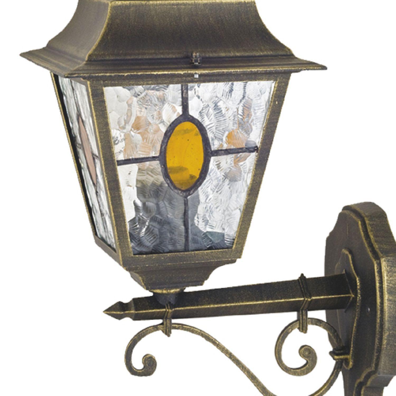 Настенный фонарь Favourite Zagreb 1804-1W, IP44, 1xE27x100W, черный с золотой патиной, прозрачный, янтарь, металл, стекло - фото 2