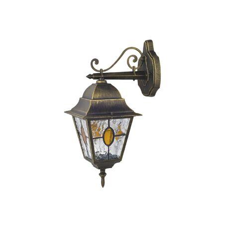 Настенный фонарь Favourite Zagreb 1805-1W, IP44, 1xE27x100W, черный с золотой патиной, прозрачный, янтарь, металл, стекло