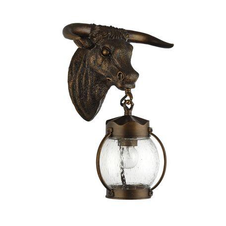 Настенный фонарь Favourite Hunt 1847-1W, IP44, 1xE27x60W, коричневый, прозрачный, гипс, металл, ковка, металл со стеклом